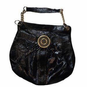 BADGLEY MISCHKA Patent Black/Gold Shoulder Bag
